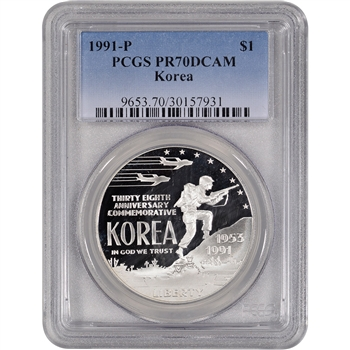 1991-P US Korean War Commemorative Proof Silver Dollar - PCGS PR70 DCAM