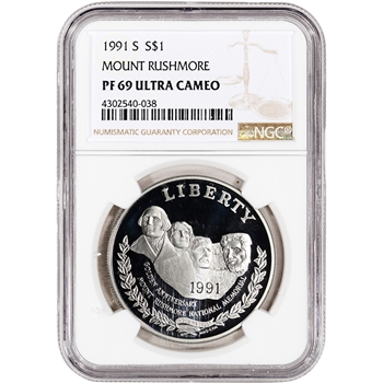 1991-S US Mount Rushmore Commemorative Proof Silver Dollar - NGC PF69 UCAM
