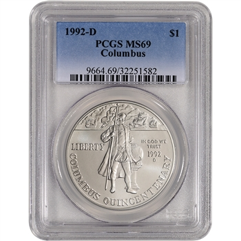 1992-D US Columbus Commemorative BU Silver Dollar - PCGS MS69