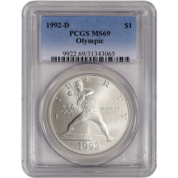 1992-D US Olympic Commemorative BU Silver Dollar - PCGS MS69