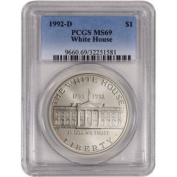 1992-D US White House Commemorative BU Silver Dollar - PCGS MS69