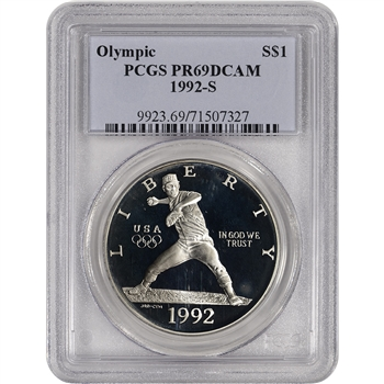 1992-S US Olympic Commemorative Proof Silver Dollar - PCGS PR69 DCAM