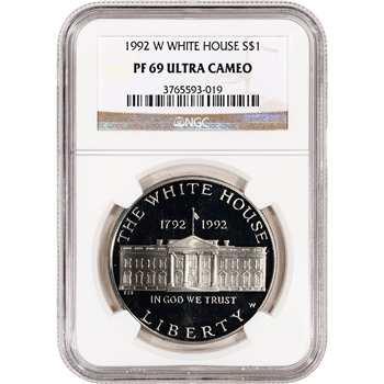 1992-W US White House Commemorative Proof Silver Dollar - NGC PF69UCAM