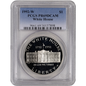 1992-W US White House Commemorative Proof Silver Dollar - PCGS PR69DCAM