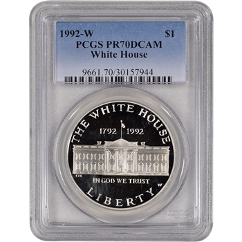 1992-W US White House Commemorative Proof Silver Dollar - PCGS PR70 DCAM