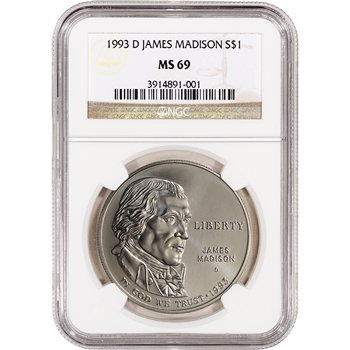 1993-D US Bill of Rights Commemorative BU Silver Dollar - NGC MS69