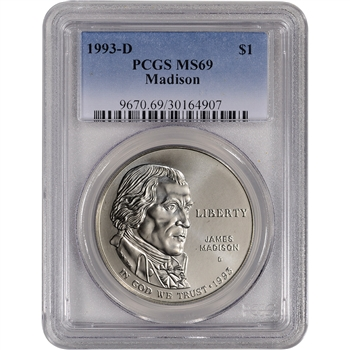 1993-S US Bill of Rights Commemorative BU Silver Dollar - PCGS MS69