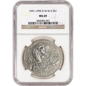 1993-D US World War II Commemorative BU Silver Dollar - NGC MS69
