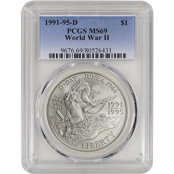 1993-D US World War II Commemorative BU Silver Dollar - PCGS MS69