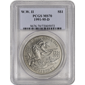 1993-D US World War II Commemorative BU Silver Dollar $1 - PCGS MS70