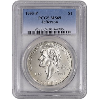 1993-P US Thomas Jefferson Commemorative BU Silver Dollar - PCGS MS69