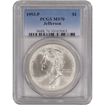 1993-P US Thomas Jefferson Commemorative BU Silver Dollar - PCGS MS70
