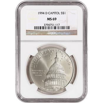 1994-D US Capitol Commemorative BU Silver Dollar - NGC MS69