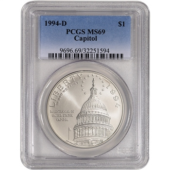 1994-D US Capitol Commemorative BU Silver Dollar - PCGS MS69