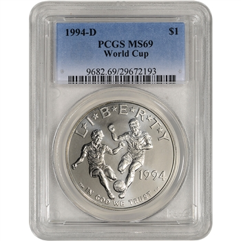 1994-D US World Cup Commemorative BU Silver Dollar - PCGS MS69