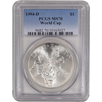 1994-D US World Cup Commemorative BU Silver Dollar - PCGS MS70