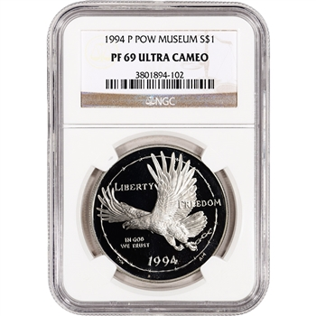1994-P US Prisoner of War Commemorative Proof Silver Dollar - NGC PF69UCAM