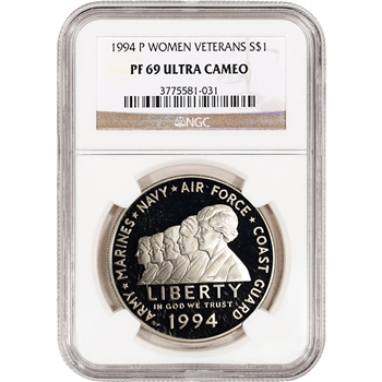 1994-P US Women In Military Commemorative Proof Silver Dollar - NGC PF69UCAM