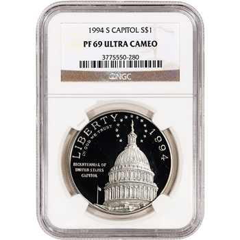 1994-S US Capitol Commemorative Proof Silver Dollar - NGC PF69UCAM