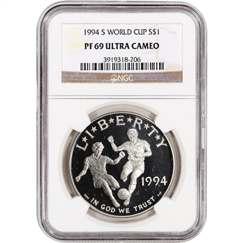 1994-S US World Cup Commemorative Proof Silver Dollar - NGC PF69UCAM