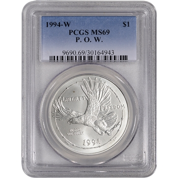 1994-W US Prisoner of War Commemorative BU Silver Dollar - PCGS MS69
