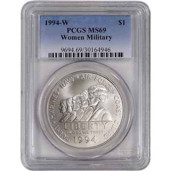1994-W US Women In Military Service Commemorative BU Silver Dollar - PCGS MS69