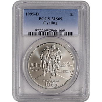 1995-D US Atlanta Olympic - Cycling - Commemorative BU Silver Dollar - PCGS MS69