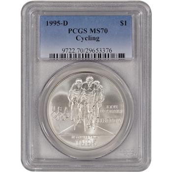1995-D US Atlanta Olympic - Cycling - Commemorative BU Silver Dollar - PCGS MS70