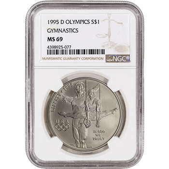 1995-D US Atlanta Olympic - Gymnast - Commemorative BU Silver Dollar - NGC MS69