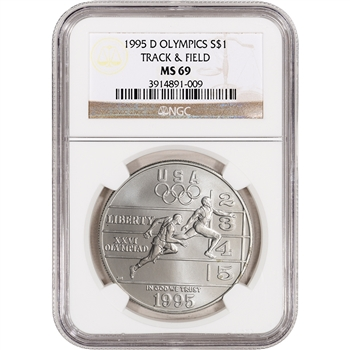 1995-D US Atlanta Olympic Track & Field - Commemorative BU Silver $1 - NGC MS69