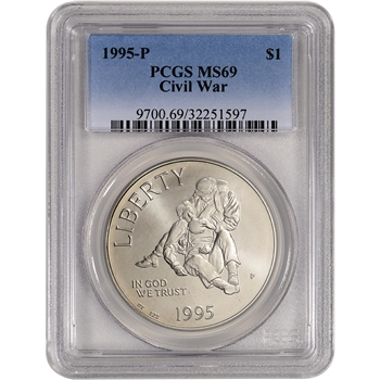1995-P US Civil War Commemorative BU Silver Dollar - PCGS MS69