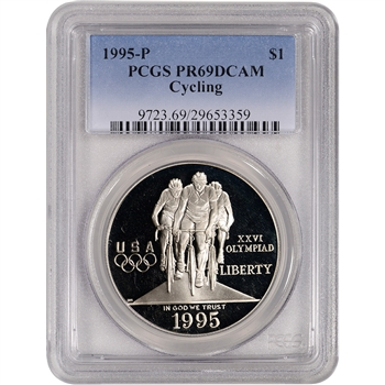 1995-P US Atlanta Olympic - Cycling - Commem Proof Silver Dollar - PCGS PR69DCAM