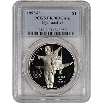 1995-P US Atlanta Olympic - Gymnast - Commem Proof Silver Dollar - PCGS PR70