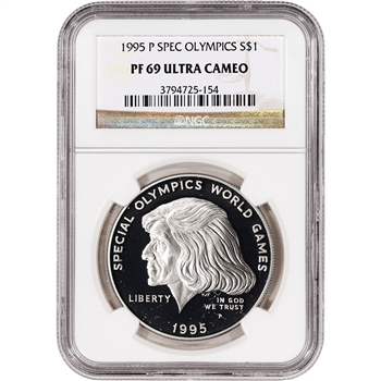 1995-P US Special Olympics Commemorative Proof Silver Dollar - NGC PF69UCAM