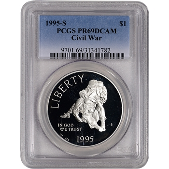 1995-S US Civil War Commemorative Proof Silver Dollar - PCGS PR69DCAM