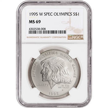 1995-W US Special Olympics Commemorative BU Silver Dollar - NGC MS69