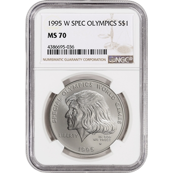 1995-W US Special Olympics Commemorative BU Silver Dollar - NGC MS70