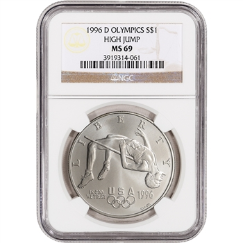 1996-D US Atlanta Olympic - High Jump Commem BU Silver Dollar - NGC MS69