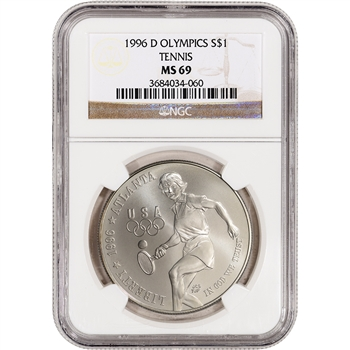 1996-D US Atlanta Olympic - Tennis Commemorative BU Silver Dollar - NGC MS69