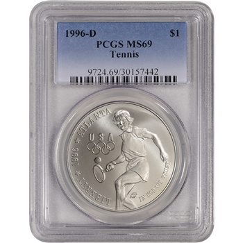 1996-D US Atlanta Olympic - Tennis Commemorative BU Silver Dollar - PCGS MS69