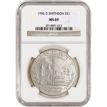 1996-D US Smithsonian 150th Anniversary Commem BU Silver Dollar - NGC MS69
