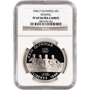 1996-P US Atlanta Olympic - Rowing Commem Proof Silver Dollar - NGC PF69UCAM
