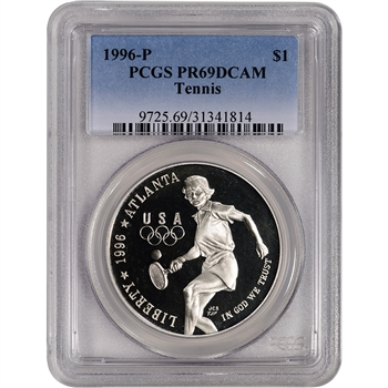 1996-P US Atlanta Olympic - Tennis Commem Proof Silver Dollar - PCGS PR69DCAM