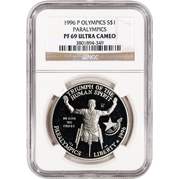1996-P US Atlanta Olympic Wheelchair Athlete Comm Proof Silver $1- NGC PF69UCAM