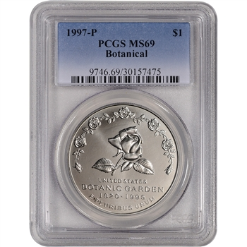 1997-P US Botanic Garden Commemorative BU Silver Dollar - PCGS MS69
