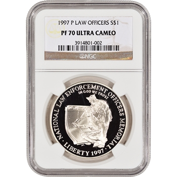 1997-P US National Law Enforcement Officers Commem Proof Silver $1 - NGC PF70