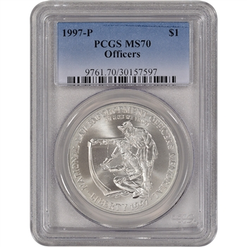 1997-P US National Law Enforcement Officers Commem BU Silver Dollar - PCGS MS70