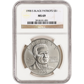 1998-S US Black Revolutionary War Patriots Commem BU Silver Dollar - NGC MS69