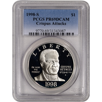 1998-S US Black Revolutionary War Patriots Commem Proof Silver $1- PCGS PR69DCAM