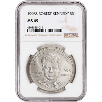 1998-S US Robert F. Kennedy Commemorative BU Silver Dollar - NGC MS69